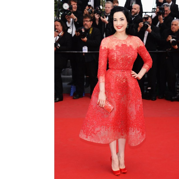 Dita Von Teese, in Elie Saab Haute Couture, with Damiani jewels, a Swarovski clutch and Christian Louboutin pumps