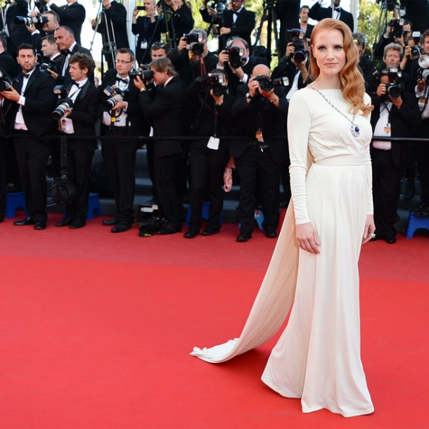 Jessica Chastain, in Versace Collection, with Bulgari jewels